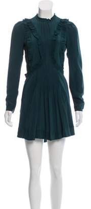 Isabel Marant Ruffle-Trimmed Silk Dress Green Ruffle-Trimmed Silk Dress