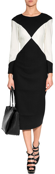 L'Wren Scott LWren Scott Black/Cream Colorblock Wool Blend Dress