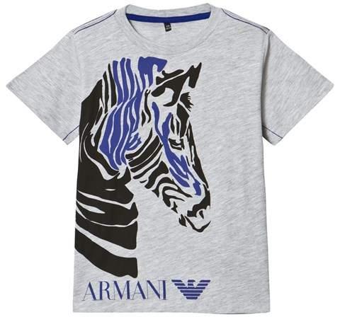 Armani JuniorArmani Junior Grey Zebra Print Branded Tee