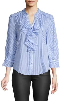 Karl Lagerfeld Paris Stripe Ruffle-Front Cotton Shirt