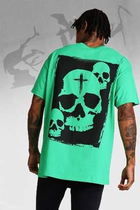boohoo Oversized Halloween Print Skull T-Shirt