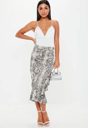 Missguided Gray Snake Print Frill Hem Asymmetric Midi Skirt