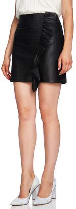 1 STATE 1.STATE Ruffle Front Faux Leather Miniskirt