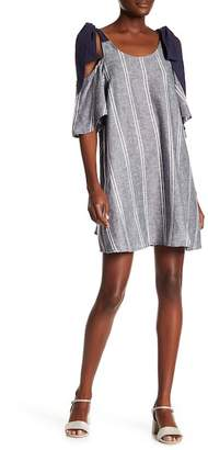Blend of America Abound Tie Strap Cold Shoulder Linen Dress