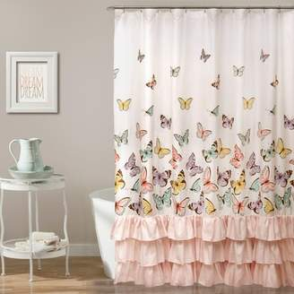 Lush Decor Flutter Butterfly Shower Curtain Pink