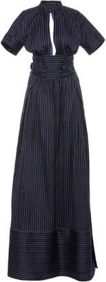 Rosie Assoulin Cutout Pinstriped Cotton-Blend Maxi Shirt Dress