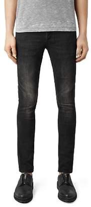 AllSaints Print Cigarette Skinny Fit Jeans in Jet Black