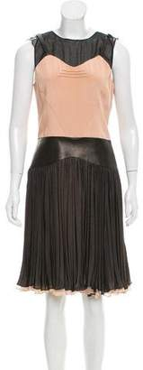 Sophie Theallet Leather-Trimmed Silk Dress w/ Tags