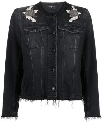7 For All Mankind embroiderd patch denim jacket