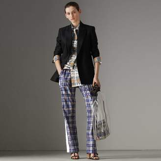 Burberry Stripe Detail Scribble Check Silk Track Pants