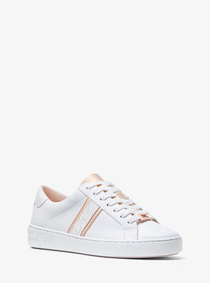 Michael Kors Irving Leather And Logo Stripe Sneaker