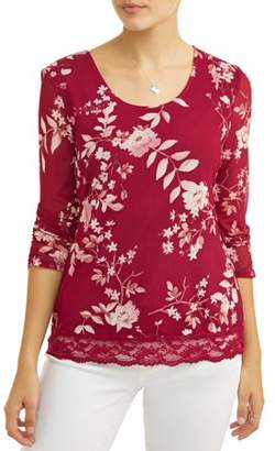 No Boundaries Juniors' Floral Printed Lace Trim Caged Back Long Sleeve T-Shirt