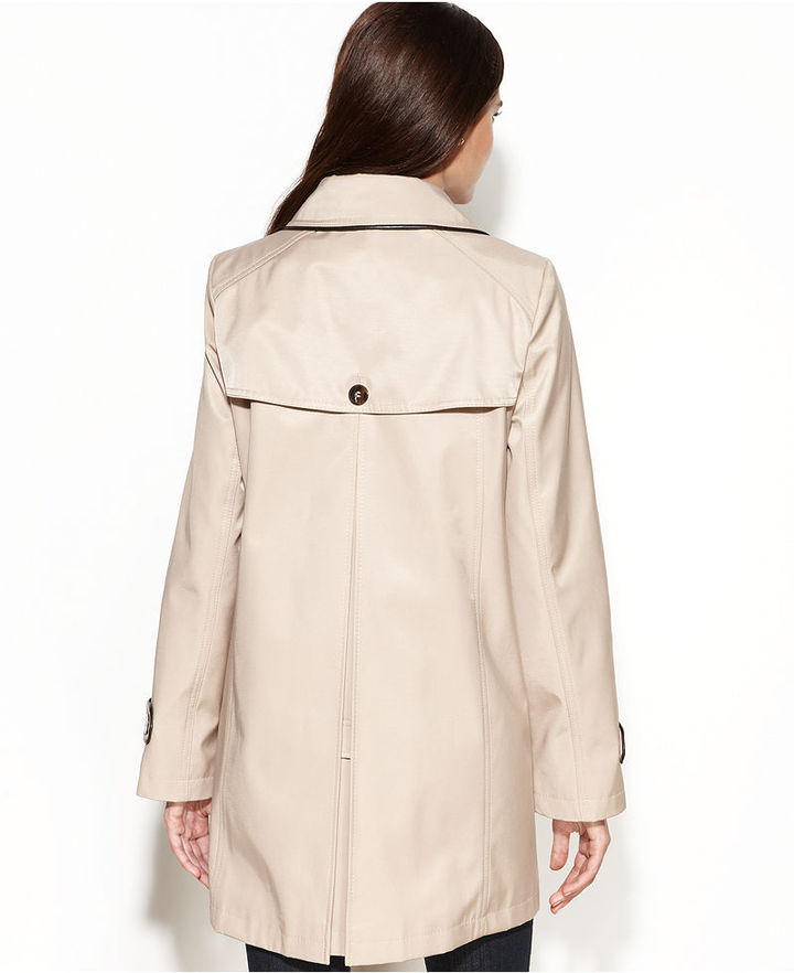 DKNY Double-Breasted Faux-Leather-Trim Swing Trench Coat