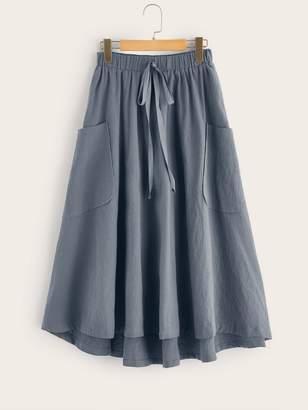 Shein Knot Waist Patch Pocket Flared Asymmetrical Hem Skirt