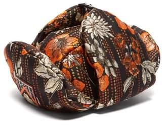 Prada Floral Jacquard Broacade Trapper Hat - Womens - Orange