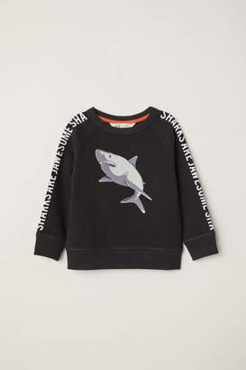H&M Sweatshirt with Printed Design - Black
