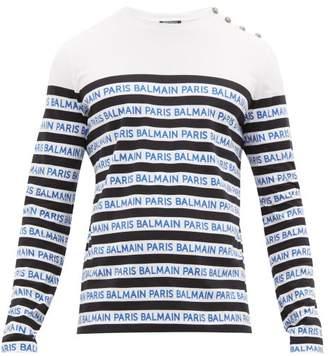 Balmain Logo Stripe Cotton Jersey Long Sleeve T Shirt - Mens - Black Blue