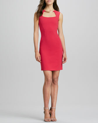 BCBGMAXAZRIA Sheath Dress with Cutout Neck