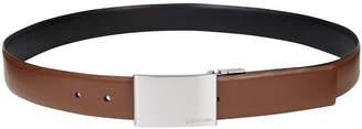 Calvin Klein Men's Reversible Leather Plaque Belt