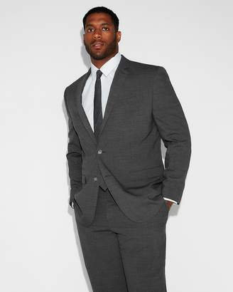 Express Slim Charcoal Gray Check Stretch Wool-Blend Suit Jacket