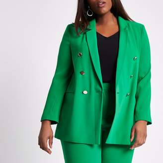 River Island Womens Plus Green double breasted ruched blazer
