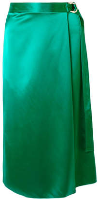 Dion Lee Wrap-effect Silk-satin Midi Skirt - Emerald