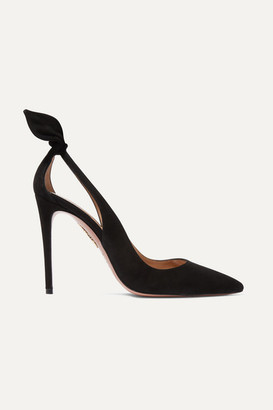 Aquazzura Deneuve 105 Bow-embellished Suede Pumps - Black