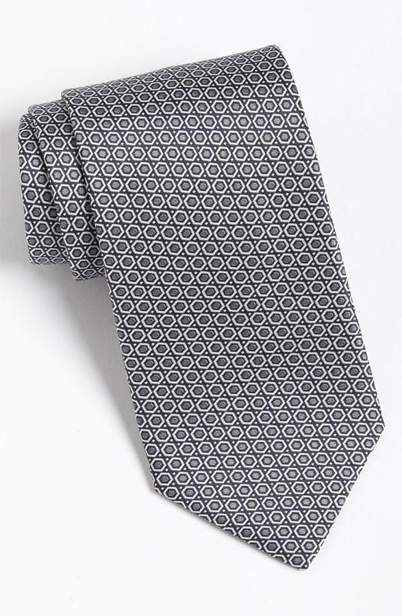Yves Saint Laurent Hexagon Pattern Woven Silk Tie