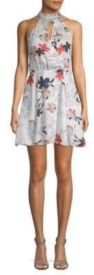 Parker High-Neck Faux Wrap A-Line Dress