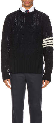 Thom Browne Aran Cable Pullover in Navy | FWRD