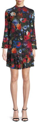 Fuzzi Long-Sleeve Floral-Print Tiered Short Dress