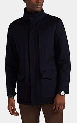 Barneys New York Men's Fur-Trimmed Cashmere Melton Coat - Navy