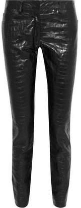 Roberto Cavalli Jersey-Paneled Croc-Effect Leather Skinny Pants