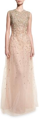 Oscar de la Renta Embellished Sleeveless A-Line Gown, Gold $9,890 thestylecure.com