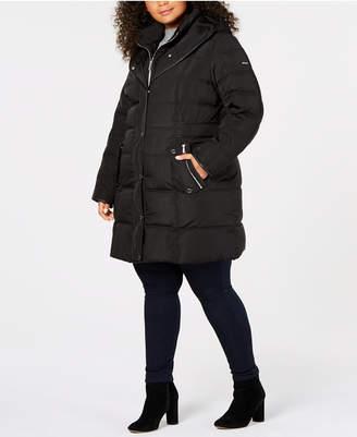 DKNY Plus Size Faux-Leather-Trim Puffer Coat