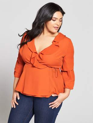 V by Very Curve Ruffle Wrap Sleeve Detail Blouse
