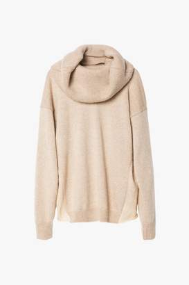 Genuine People Wool Mohair Blend Sweater with Neck Wrap