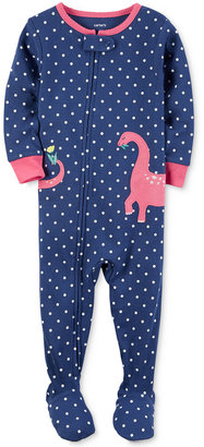 Carter's 1-Pc. Dot-Print Dinosaur Footed Pajamas, Baby Girls (0-24 months) $20 thestylecure.com
