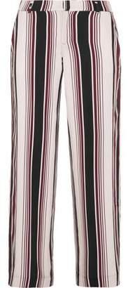 Splendid Luxe Striped Washed-Silk Wide-Leg Pants