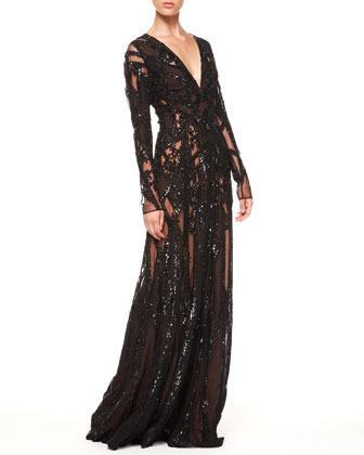 Elie Saab Sheer Sequin Gown, Black