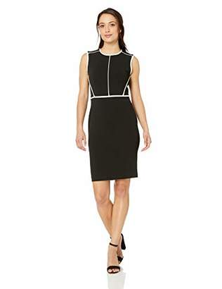 Calvin Klein Women's Petite Sleeveless Sheath with Contrast Piping