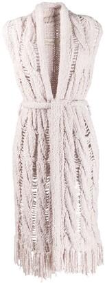 Gentry Portofino distressed knit sleeveless cardigan