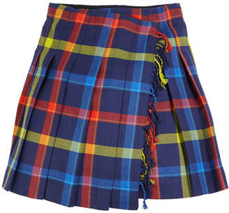 Burberry Klorriana Wool Pleated Plaid Skirt, Size 4-14