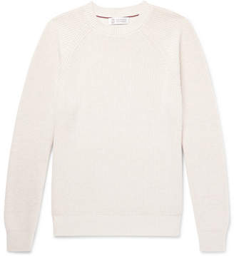 Brunello Cucinelli Slim-Fit Ribbed Cotton Sweater - Men - Cream