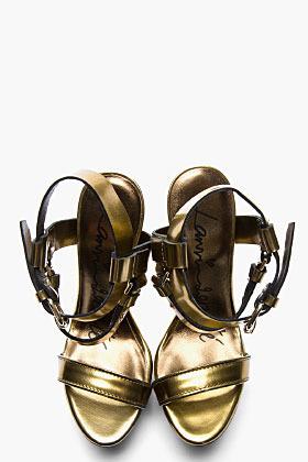 Lanvin Gold leather sculpted-heel Sandals