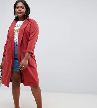 New Look Plus Curve textured duster coat in orange