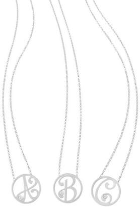 K Kane Mini Single Initial Diamond Necklace, Rhodium Silver, 18""