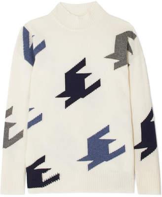 Victoria Beckham Houndstooth Intarsia Cashmere Sweater - Off-white
