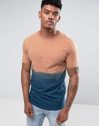 Asos DESIGN Longline Muscle T-Shirt With Dip Dye In Navy With Curved Hem
