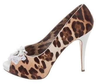 Dolce & Gabbana Ponyhair Peep-Toe Pumps